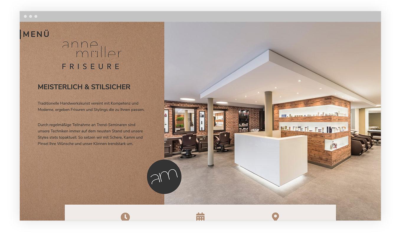 Screen der Website vom Friseur Anne Müller