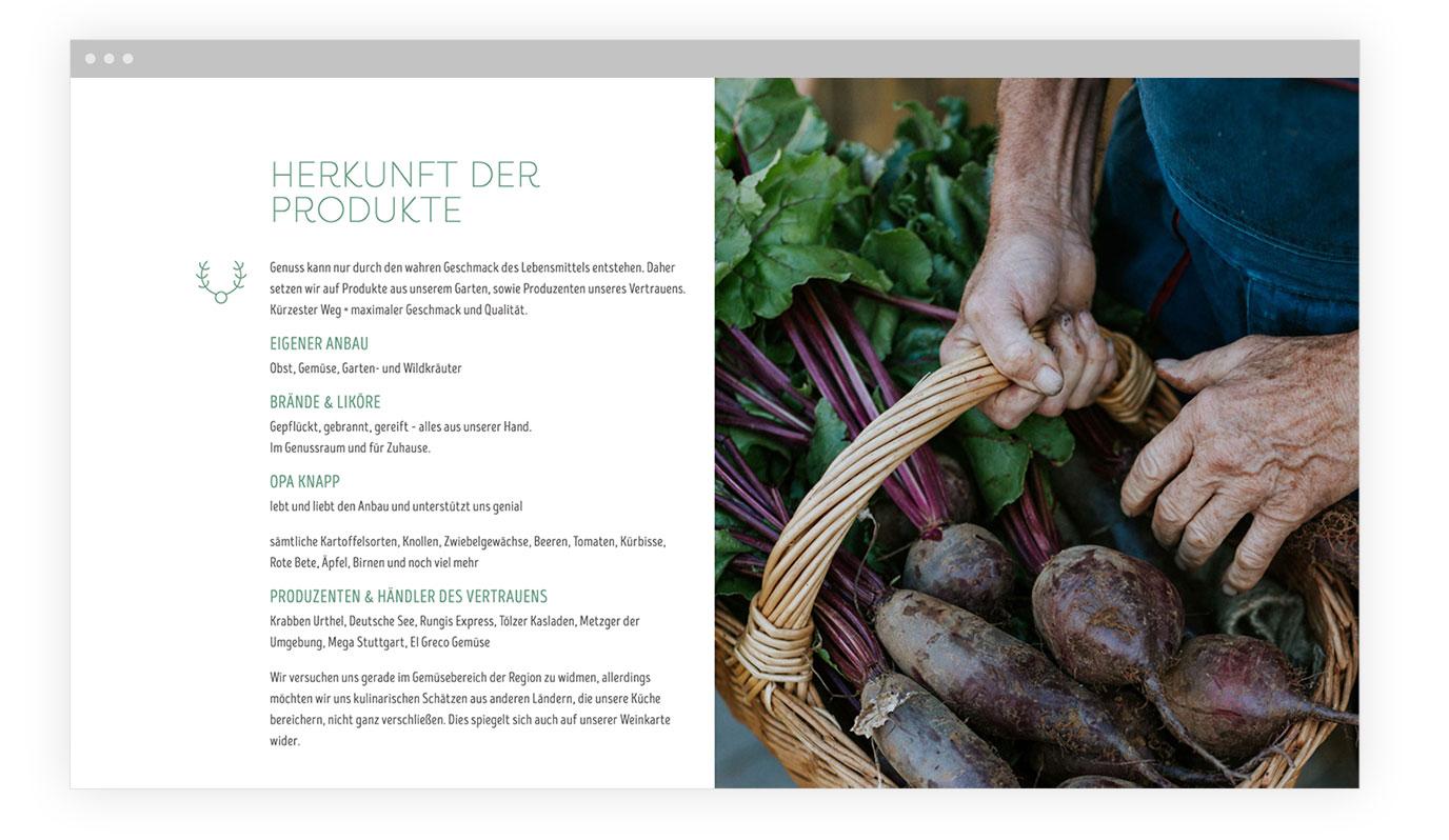 Screen der Website vom Gasthaus Hirsch