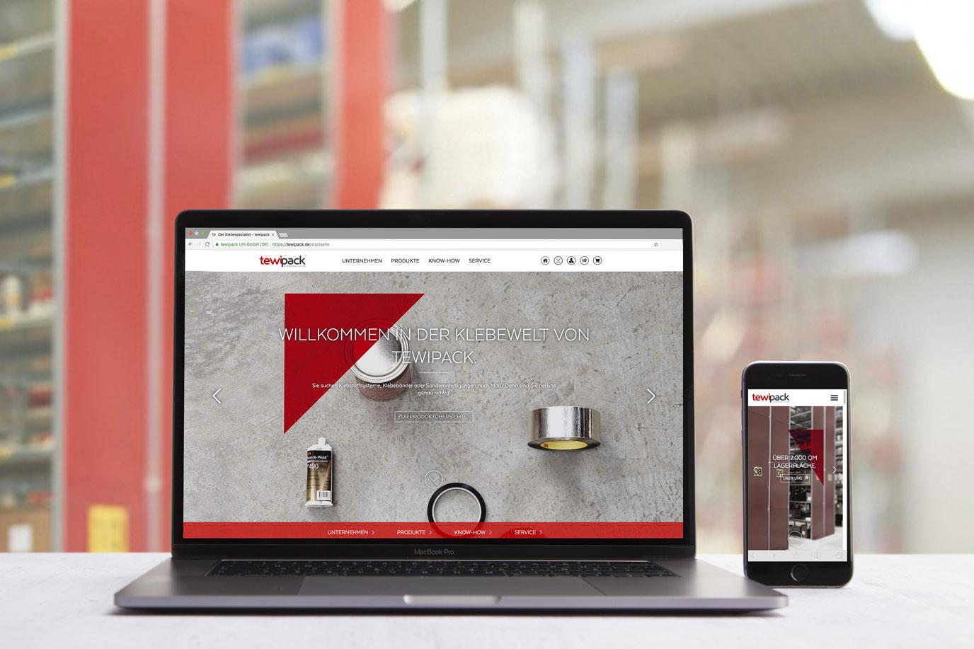 Screen der Website Tewipack